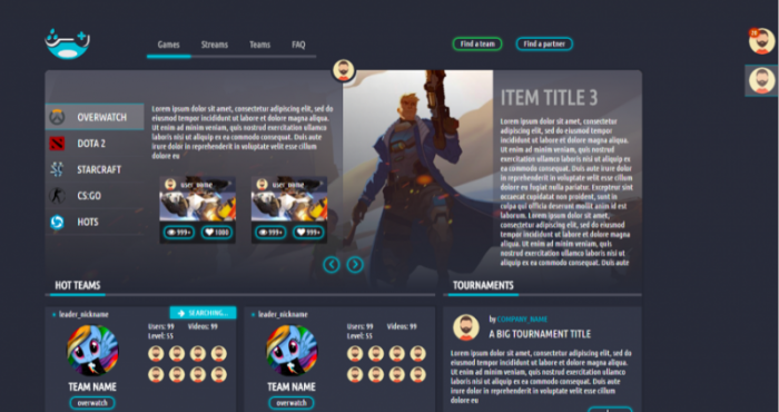 design a gamers social network