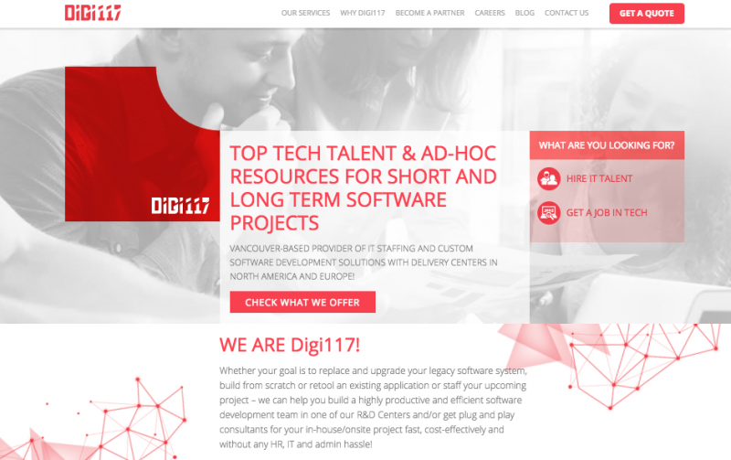 hire talent to redesign website