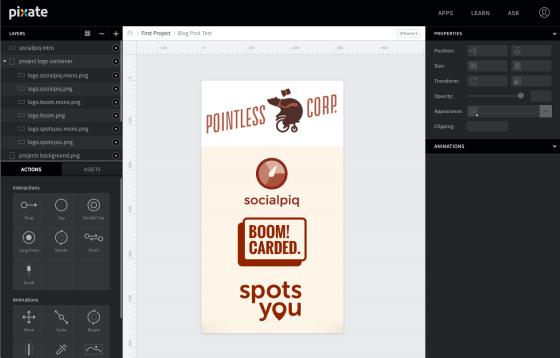 pixate, app prototype